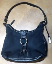 Chaps Black Hobo Purse Handbag Great Quality Leather And Brass Details