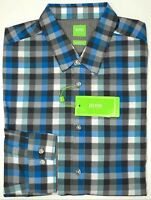 NWT $105 Hugo Boss Blue Plaid Shirt LS Mens Size L XL XXL C-Bustai Modern Fit