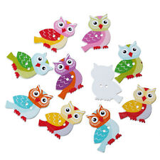 10 Wood Novelty Mixed Colour Owls design Sewing Craft Buttons 26mm Free UK P&P