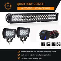 "22""inch LED WORK LIGHT BAR SPOT FLOOD COMBO For Driving Lamp Bulldozer 4x4 Boat"