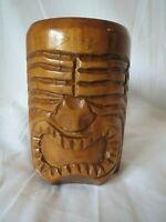 Vintage Hawaii Hand Carved Tiki Mug Monkey Wood