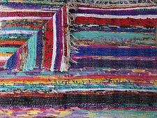 INDIAN Fair Trade Rag Rugs Recycled Cotton Handmade Multi Colour Cotton Mat 04