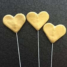 Edible Love Hearts On Wire Cake Toppers X6 GOLD Colour