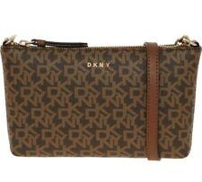 DKNY Genuine Ladies Small Monogram Crossbody Bag Beige Brown BWOTS