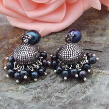 H090612 Black  Pearl Cz  Pave Cap Earrings
