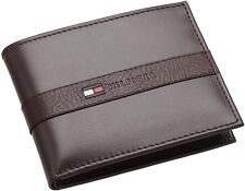 New Tommy Hilfiger Men's Ranger Leather Passcase Bifold Billfold Wallet - Brown