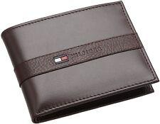 New Tommy Hilfiger Men's Ranger Leather Passcase Bifold Billfold Wallet - Brown