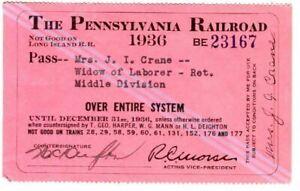 Railroad Pass Pennsylvania Railroad 1936 BE 23167
