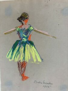 Dancer with Arms Out Pastel Painting 1915-Eleanor Modrakowska (1879-55)