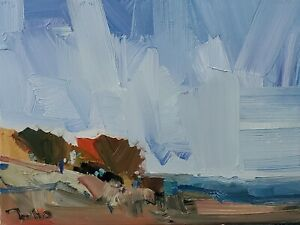 JOSE TRUJILLO Oil Painting IMPRESSIONISM MODERN COLLECTIBLE LANDSCAPE coa
