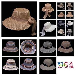 Women's Straw Hat Bucket Cap Fashion Casual Beach Sun Visor Brim Floppy Hats