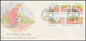 NEW ZEALAND FDC 1991 THINKING OF YOU SET OF 5 x40c CATS (ID:F997 (15/5)