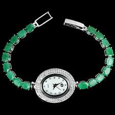 Sterling Silver 925 Genuine Emerald & Lab Created Diamond Watch 7 Inch