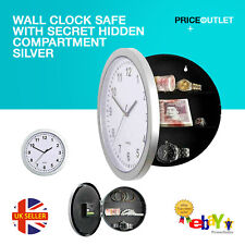 Wall Clock Safe With Secret Hidden Compartment Silver Money Stash Jewellery