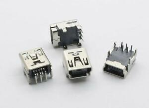 Mini USB Female 5 pin 90' PCB Socket Connector - 2 Leg or 4 Leg Option
