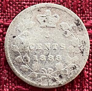 1888 ~ CANADA ~ 5 CENTS ~ .925 SILVER ~ Queen VICTORIA ~ G6 Dented Condition