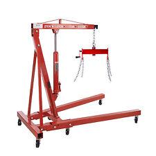 2 Ton Foldable Hydraulic Engine Hoist Shop Crane Jack Lift  + Load Leveler