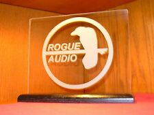 ROGUE AUDIO ETCHED GLASS SIGN W/BLACK OAK BASE