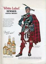1962 Dewars PRINT AD White Label Scotch Whisky bagpiper Clan Wallace Tartan
