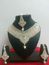 Indian Bollywood Fashion Necklace Earrings Gold Bridal Costume Jewellery Set