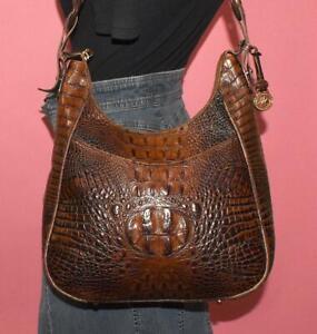BRAHMIN Croco Embossed Leather Brown Hobo Shopper Shoulder Purse