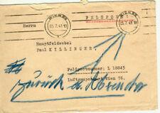 """German WWII Lw Feldpost #L18845 Flak Transport Batt #71 """"Return to Sender"""""""