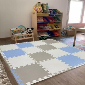 Blue Large Interlocking Floor Safe Mats Kids Children Play Exercise Gym Yoga Mat