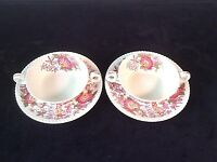 COPELAND SPODE SPODES ASTER SET 2 CREAM SOUP BOWLS SAUCERS FLORAL RED GADROON