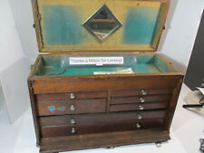 Rare Baker Case Oak Tool Machinist Chest Box 7 Drawer 20 X 12 X 9 Nice
