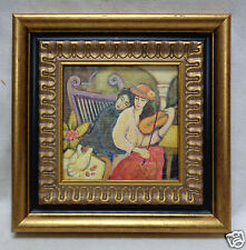 Picture of Lovers at the Park w. Antique Style Gold & Black Decor Frame 11x11""