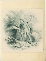 ANTIQUE VIGNETTE PRINT OF EGYPTIAN MAN CUPID CHERUB GREEN INKS ON 1803 PAPER
