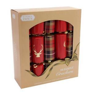 10 Pack Family 30cm Christmas Crackers - Red / Tartan