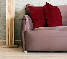 Indian Velvet Cushion Cover Maroon Solid Home Decor Sofa Throw Pillow Case 16""
