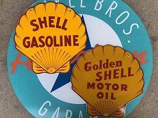 SHELL GASOLINE - GOLDEN SHELL MOTOR OIL  porcelain coated 18 GAUGE steel signs