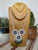 Vintage Seed Bead Southwestern Handmade Necklace With 3 Stars