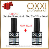 NEW! GRAND Rubber Base 10ml. + Top No-Wipe 10ml. OXXI Professional Gel LED/UV