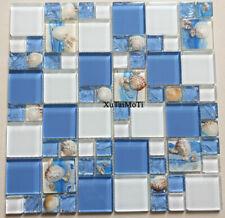 11pcs Sea Shell Blue Glass Mosaic Bathroom Wall Kitchen Background Pool Tile