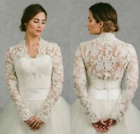 Lace Applique Wedding Boleros White Ivory Bridal Jackets V Neck Custom 2-26W New