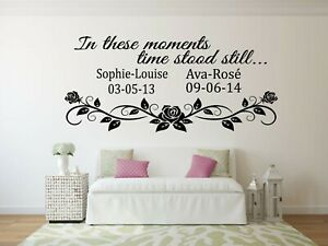 Personalised In these Moments Time Stood Still Wall Art Family Quote Sticker