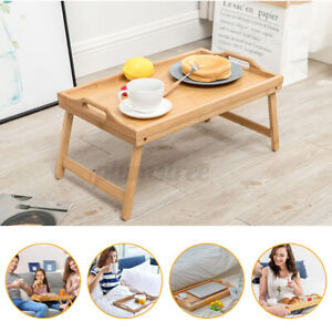 Bamboo Foldable Breakfast Table Bed Desk Serving Tray Notebook Laptop Stand