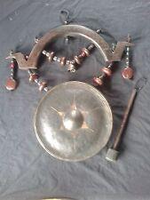 Large 30cm Vintage Burmese / Thai Brass Gong Buddhist Temple Bell Hanger Dinner