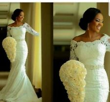 UK White/ivory Mermaid 3/4 Sleeve Lace Beaded Belt Wedding Dresses Size 6-16