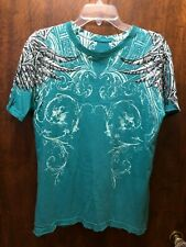 Affliction Live Fast Teal Green/Blue Graphic T-Shirt w/ Angel Wings Size Medium