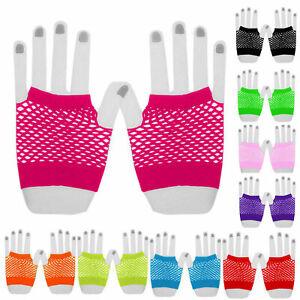 Fishnet Gloves Fingerless Wrist Length 70s 80s Unisex Costume Party Dance New