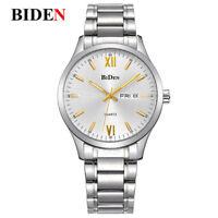 BIDEN 3ATM Waterproof Calendar Men Luxury Quartz Wrist Watch Steel Strap Gift