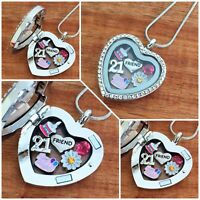 Personalised BIRTHDAY Gifts Floating Memory Locket Necklace 15th 16th 18th 30th