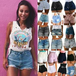 Women's Summer Ripped Mini Denim Jeans High Waist Fitness Casual Shorts Hot Pant