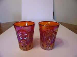 TWO CONTEMPORARY RED CARNIVAL GLASS TUMBLERS/GLASSES