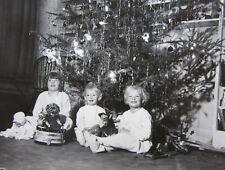 Vintage Christmas Tree Toys Photo Lot (6) Waiting for Santa Chimney Stockings