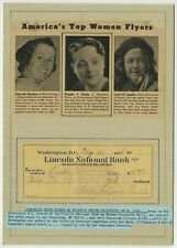 Phoebe Omlie Signed Check in Display 1936 / Autographed Early Female Aviator